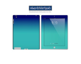 Blue-Teal Ombre Decorative Decal iPad Cover Skin
