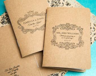 25 Kraft Mini Notebook Favours. Custom kraft wedding favor place cards, wedding decor. Unique Note pad favours. Kraft personalised favours