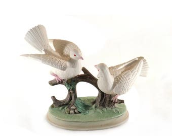 Dove Couple Bisque Statue, Pair of Birds Pastel Porcelain Figurine