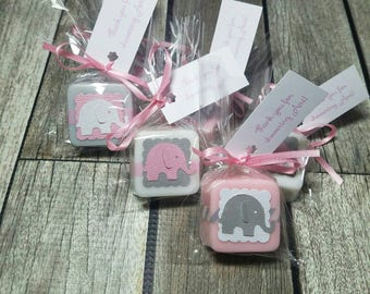 Elephant Baby Shower favors girl, handmade soaps - Choose your own colors