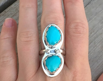 Sleeping Beauty Turquoise Ring, Size 7, Sterling Silver, Blue Stone, December Birthstone, Boho Jewelry, Gift For Her