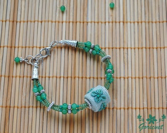 Emerald green bracelet boho jewelry four leaf clover gift for girl bracelet nature jewelry embroidery jewelry good luck gift for girlfriend