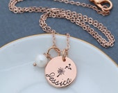 SALE • Wish Necklace • Dandelion Wish Jewelry • Make a Wish Gift • Stamped Rose Gold Necklace Name Rose Gold Bridesmaid Gift •Girls Necklace