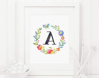 Nursery Initial Printable Letter A Floral Nursery Decor Colorful Flowers Monogram Nursery Letters Personalized Nursery Red Blue Nursery Art