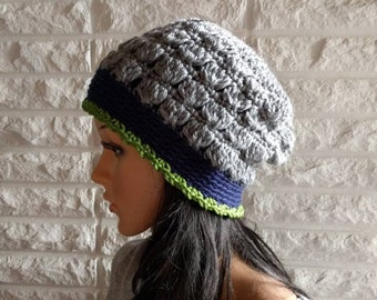 Seahawks flapper cloche beanie, women's grey Seahawks beanie hat, women's accessories, gifts for her, fall, winter and spring fashion