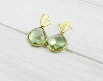 Green Amethyst Earrings, Leaf Earrings, Gold Earrings, Minimal Earrings, Minimalist Earrings, Dangle Earrings, Gift for Her, Post Earrings,