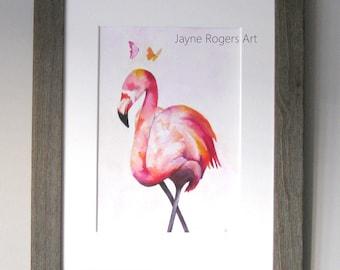 ORIGINAL PAINTING - Flamingo Art Work, Flamingo Painting, UK Seller, Contemporary Art, Animal Painting, Bird Art Gift - Signed Painting