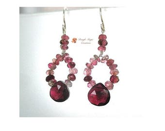 Red & Pink Earrings, Genuine Garnet Gemstone, Tourmaline Real Stones, Sterling Silver, Handcrafted Gift for Women, January Birthstone  E462