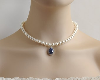 Blue sapphire necklace, Bridal pearl necklace wedding pearl jewelry sapphire blue CZ teardrop necklace, Swarovski white pearl Cubic Zirconia