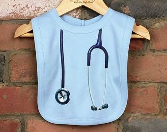 Stethoscope Baby Bibs, Unique Baby Gift, Funny Baby Bib, Baby Nurse, Baby Doctor, Nurse Gift, Baby Clothes, Baby Shower Gift Stethoscope Bib