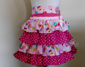 Birthday Cupcakes and raspberry polka dots half apron
