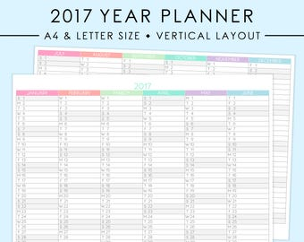 A4/LETTER 2017 Vertical Year Planner Printable | Pastel, 2017 Planner, 2017 Calendar, Year Overview, Year At A Glance, Instant Download