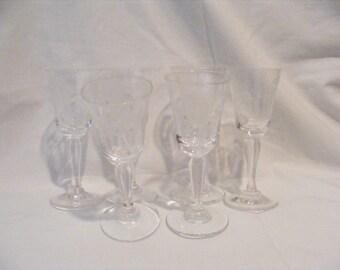 Set of 6 Vintage Crystal Cordial Stemware - Leaf Pattern