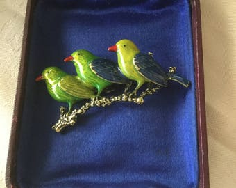 Large Vintage Bird Brooch Pin Trio of Enamel Birds on a Branch stunning green and blue colours