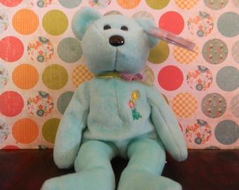 "TY Green Bear Beanie Baby ""Ariel"" (B)"