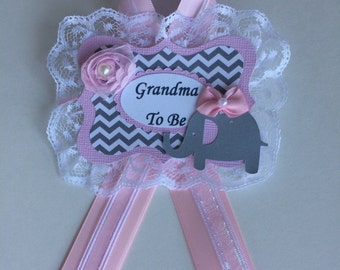 Elephant baby shower corsage/Elephant grandma to be pin/Grey chevron and light pink elephant baby shower/Grandma to be corsage