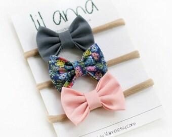 Nylon Baby Headbands - Baby Headband Set - Baby Bow Headband Set-Newborn Headband-Fabric Bows-Baby Hair Bows-Baby Bows-Infant Bows-Hair Bows