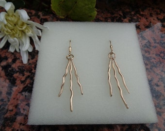 """Gold Earrings """"life lines"""", 585 gold filled"""