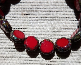 Czech Glass Lentil Coin Bead - Fabulous Red Picasso - Beautiful!