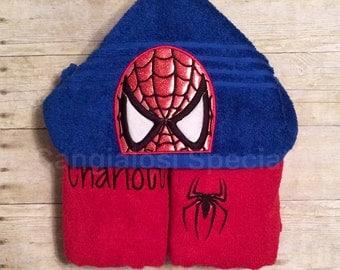 Spider Hero Spiderman Inspired Hooded Towel/ Baby/Kids/Adult/Baby Shower/Birthday/Christmas/Gift/Bath/Pool/Towel/Summer/Easter/Beach/Party