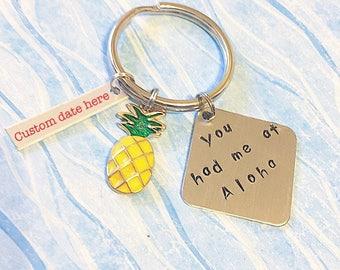 Anniversary date gift Pineapple keychain aloha keychain pineapple gifts wedding date gift custom date destination wedding gift beach wedding