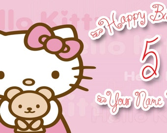 Birthday banner Personalized 4ft x2ft Hello Kitty