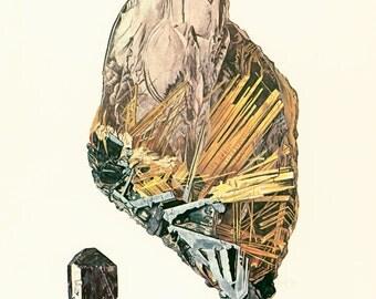 1970 Rutile Needle Crystal. Quartz Crystal  Print. Vintage geology Illustration.