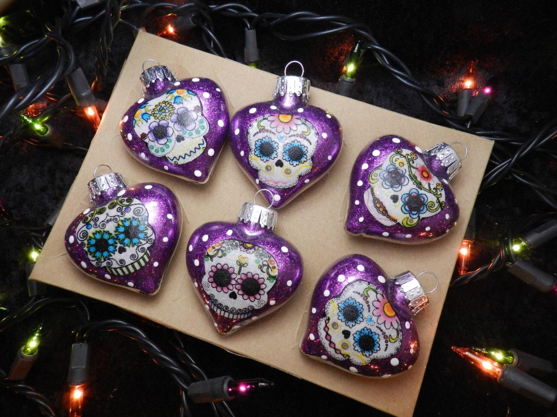 Glass heart christmas ornaments - Sugar Skulls Glass Heart Christmas Ornaments Set Of 6