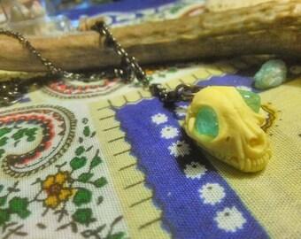 resin Cat Skull Necklace