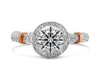 0.37ct Side Diamonds in 14K 2Tone Gold Semi Mount Halo Ring (NO CENTER STONE)