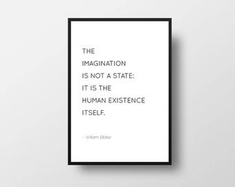 William Blake, Imagination Quote, Minimal Art, Modern Art, Modern Quote, Motivational Quote, Inspirational Quote, Book Quote