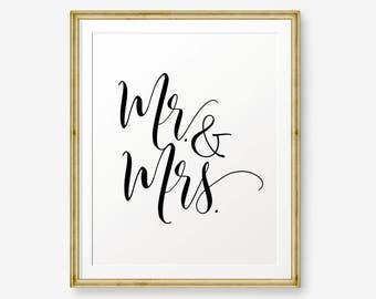 SALE Mr & Mrs marriage printable, wedding gift, anniversary, Wedding Sign, Wedding Printable, Wedding welcome sign, Wedding Decor