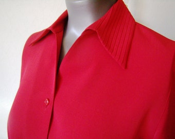 Red blouse, sleeves 3/4, Vintage, woman, size S/36-38