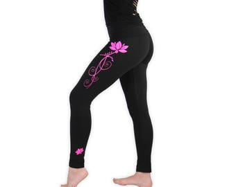 Lotus Yoga Pants- Lightweight Lotus Yoga Tights- Fold At Waist Tapered Leggings- LPA2 - Pink on Black