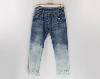 Gradation blue fringe jeans