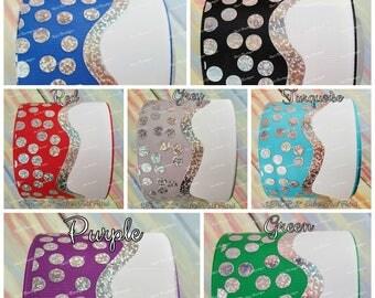 """USDR 3"""" Foil Dots Cheer Bow Ribbon, US Designer Grosgrain ribbon, craft supply,hair bow supply, USD Ribbon, Ribbon by the Yard"""