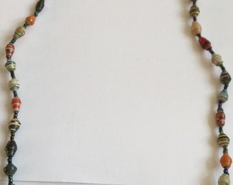 Short Multi-Coloured Bead Necklace - Made from recycled paper by Women in the slums of Uganda