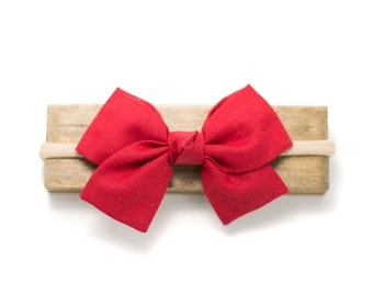Holiday Red Kensington Bow. Christmas Bow for Babies, Infants, Toddlers. nylon headband or clip