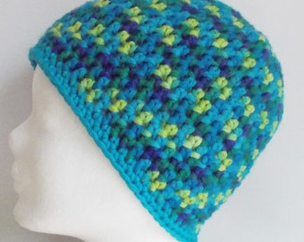 beanie, hat, wooly hat, green and turquoise, crochet