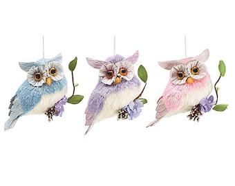 Bramble & Briar Hoot Owl -SET of 3/Pastel Owls/Wreath Supplies/Spring Decor/9724433