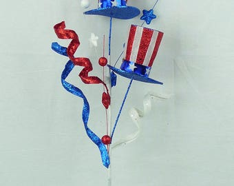 """26"""" Red-White & Blue Top Hat Curly Spray/Wreath Supplies/Patriotic Decor/Fourth of July Decoration/74096RWB"""
