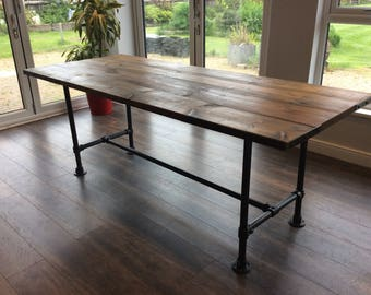 Solid wooden dining table, dining table with bench, industrial chic, reclaimed industrial table, repurposed timber,