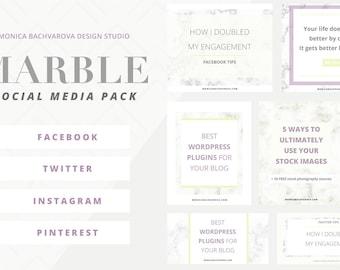 Social Media Template Package - Marble