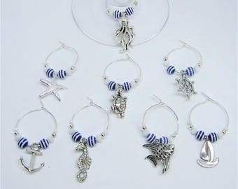 Nautical Wine Glass Charms - Beach theme ~ Set of 8 ~ new home gifts - dinner party gifts - drinks party - nautical drinks wear
