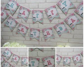 Shabby Chic Campervan Happy Birthday Bunting Banner Garland ,Birthday,Party