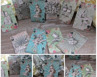 10 Alice in Wonderland Playing Card Style Gift Tags/Toppers/Favors/Wedding Party,Crafts,Scrapbooking