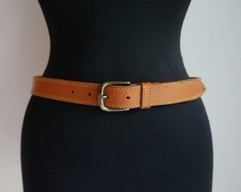 Tan waist belt, brown leather, double stitches, golden brass buckle, small size, vintage fashion accessories