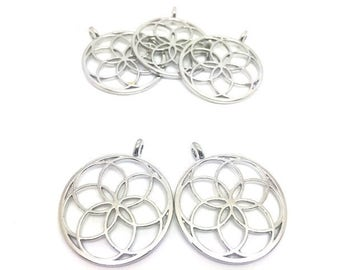 5 charms rosette flower 35x30mm silver Platinum