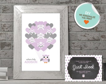 Owl Baby Shower Guest Book, Owl Guest Book, Purple, Gray, Polka Dots (Matches Chalkboard, Balloon) | DIY
