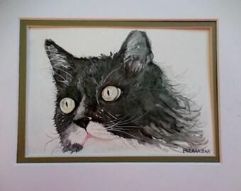 Tuxedo Cat, Black and White cat, original cat painting, watercolor cat.